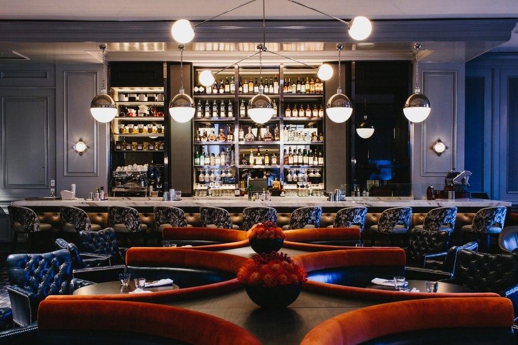 Bank Margot bar interior design ideas with upholstered bar stools