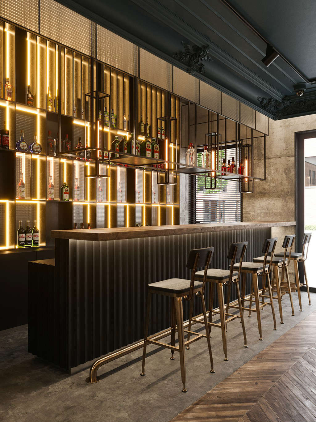 Contemporary bar stools ideas at Almaty restaurant