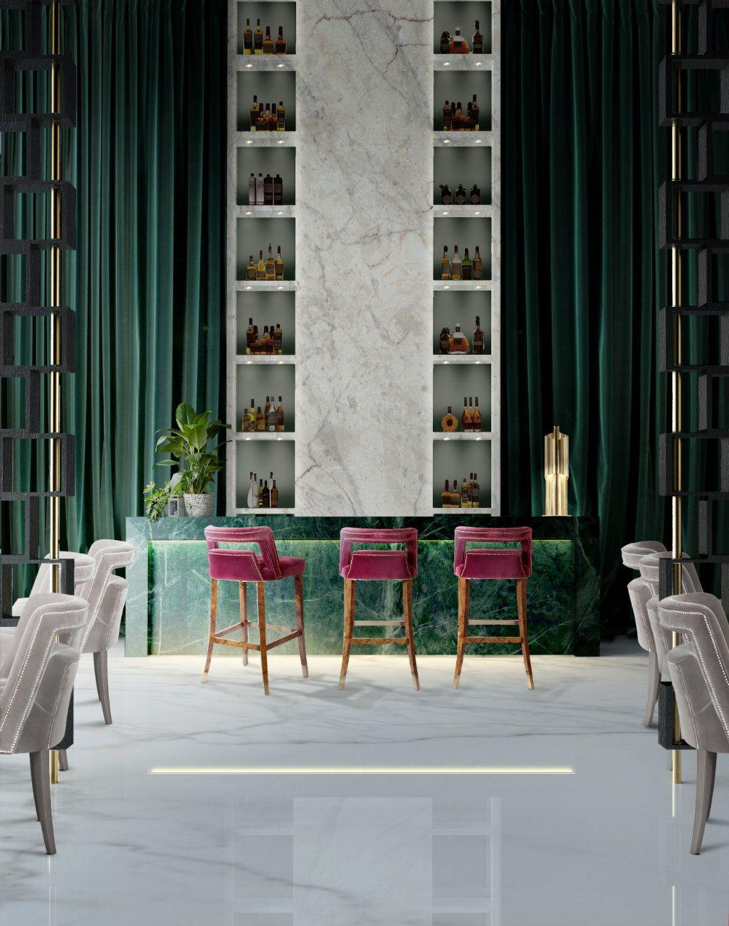 Bar decoration ideas with purple bar stools