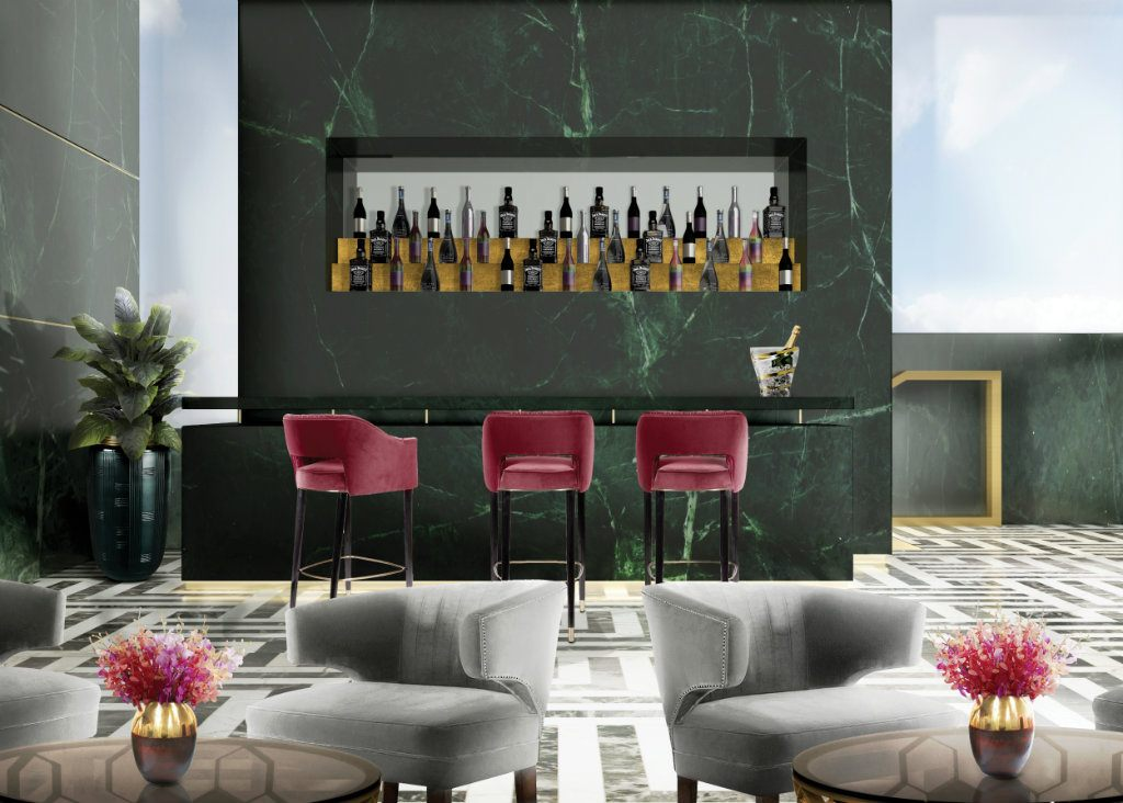 Uphosltered bar stools for midcentury bars