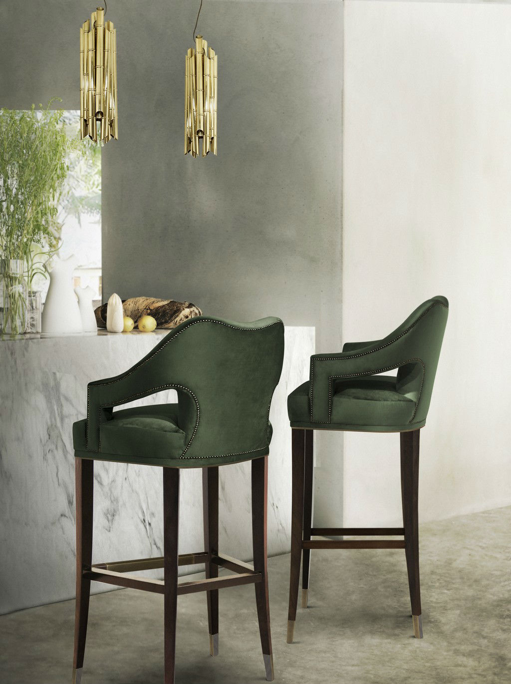 Upholstered bar stools with backs and wood legs