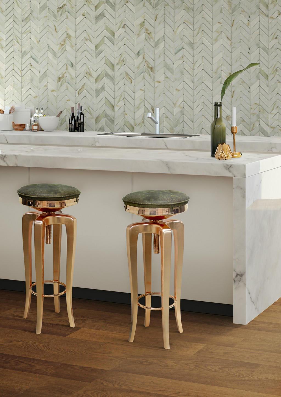 BRABBU swivel leather bar stool