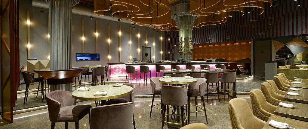 Bar decor ideas from Asian bars - velvet bar stools