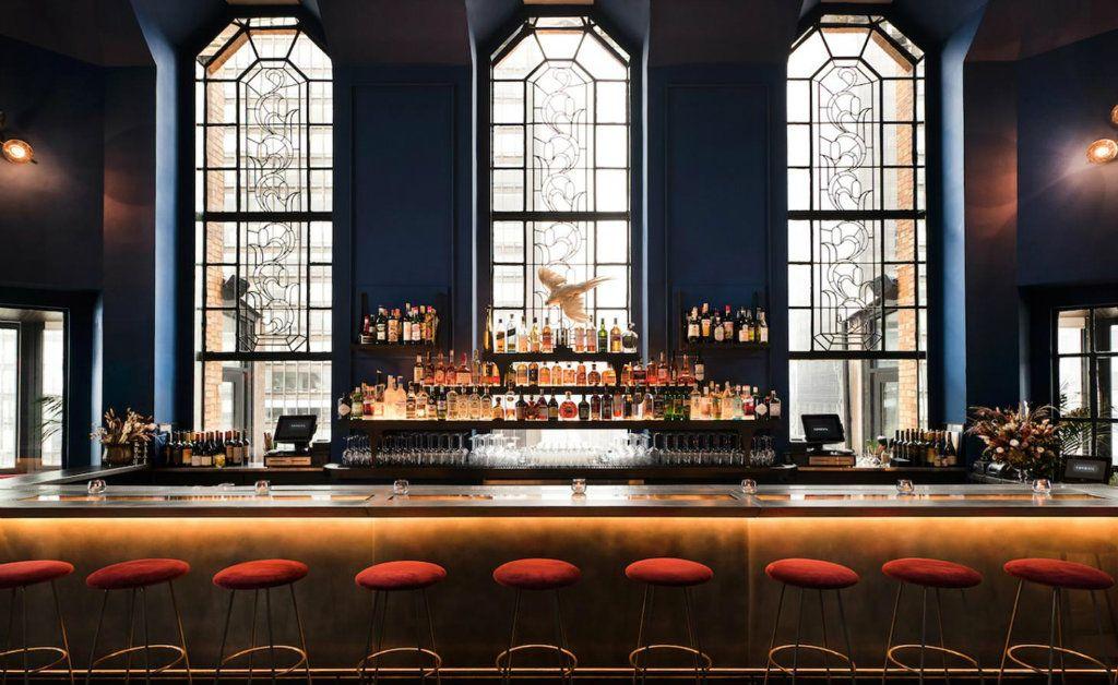 Ophelia bar decor ideas - velvet bar stools